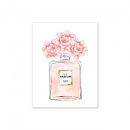 Perfumy butelka Wall Art perfumy plakaty i druki uroda zaczyna nadruk cytatu kwiat akwarelowy zdjęcia dekoracja sypialni