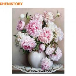 CHENISTORY Różowy Europa Flower zrobić to sam Painting By Numbers farba akrylowa By Numbers malowany obraz olejny na płótnie dla