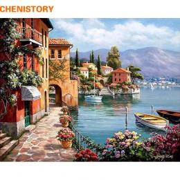 CHENISTORY Romantyczny Port zrób to sam Malowanie Numerami Krajobraz Płótno Malarstwo Home Decor Dla Pokoju Gościnnego Wall Art