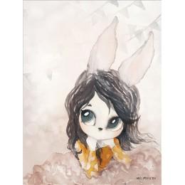 Home Decor Nordic płótno malarstwo ścienne sztuka królik dziewczyna zwierząt abstrakcyjny akwarelowy drukowany dzieciak sypialni
