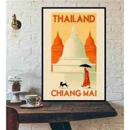 Bangkok Tel awiw europa świat miasto wycieczka podróż dekoracje Vintage plakat z krajobrazem drukuje obraz ścienny na płótnie po