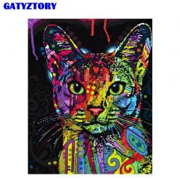 Bezramowe abstrakcyjne kolorowe zwierzęta kot zrób to sam Malowanie numerami Ręcznie malowany obraz olejny na ścianę Obraz sztuk