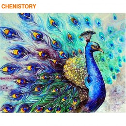 CHENISTORY bezramowe pawie zwierzęta DIY malowanie przez zestawy liczb farba akrylowa według numerów dekoracje ścienne do domu u