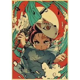 Anime Demon Slayer Kimetsu no Yaiba fajny plakat retro drukuje papier pakowy Wall Art wystrój pokoju