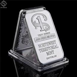 Północno-zachodnia terytorialna mięta Dayton NV 1 uncja Troy. 999 Fine Sliver Plated Bar replika złota tabliczka srebrna kolekcj