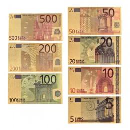 7 sztuk 5 10 20 50 100 200 500 EUR złote banknoty w 24K złoto fałszywe papierowe pieniądze na kolekcję banknotów Euro