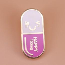 Happ ~ y pill emalia pin kreatywna medycyna odznaka uśmiechnięta twarz broszka tekst 100mg śliczne szpilki lekarz pielęgniarka f