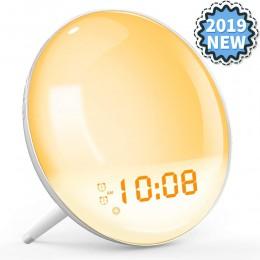 Obudź światło Sunrise Alarm symulacyjny zegar pomoc w leczeniu zaburzeń snu kolorowa lampka nocna z radiem FM podwójny Alarm reg