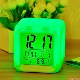 7 kolor LED zmień cyfrowy świecący alarm zegar podświetlany nocny do sypialni dziecka HOT cyfrowy budzik zegar gadżety elektroni