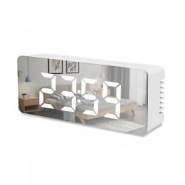 Wielofunkcyjny lustrzany budzik led zegar wyświetlacz temperatury z funkcją drzemki duży zegar cyfrowy USB ładowanie zegar dekor