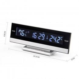 Budzik z wyświetlaczem lcd duży wyświetlacz led budzik elektroniczny biurko temperatura wilgotność zegar budzik elektroniczny