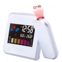 LED projekcja cyfrowa budzik temperatury termometr biurko czas wyświetlanie daty kalendarz projektora USB ładowarka tabela zegar
