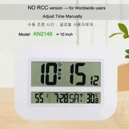 Dekoracyjne cyfrowa ściana budzik stół kalendarz biurkowy temperatury termometr higrometr zegar ze sterowaniem radiowym