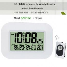 Duży LCD cyfrowa ściana zegar termometr temperatura sterowany radiowo budzik RCC tabela kalendarz biurkowy dla Home School Offic