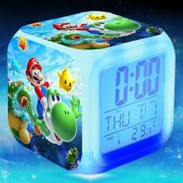 Super mario bros budzik dla dzieci Cartoon zegar cyfrowy obudź światło zegar led budzik stół reveil Desk wekker