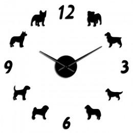 Różne rasy psów duży zegar ścienny dla miłośników psów właściciele zwierząt Home Decor gigantyczny zegar ścienny nowoczesny Desi
