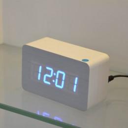 FiBiSonic alarm drewniany zegary z termometrem, kontrola dźwięku drewniane zegary Led, cyfrowa tablica i zegar