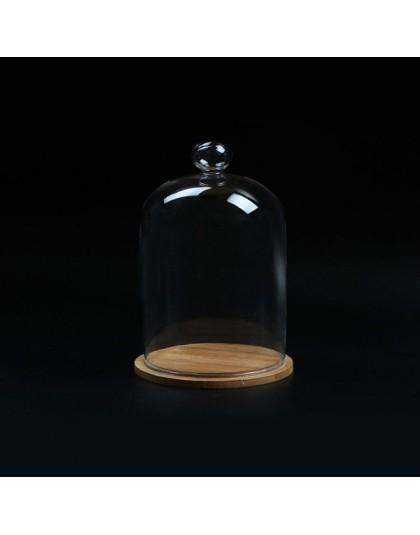 Wystrój domu szklane wazony wyświetlacz kwiat klosz dzwon szklany kopuła nieśmiertelna konserwacja + drewniana podstawa wieczne