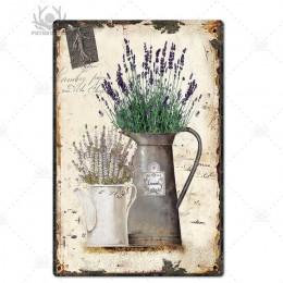 Kwiat vintage znak puszka Home Decor Retro metalowy znak sfatygowany szykowny dekoracje ścienne do kuchni salon jadalnia metalow