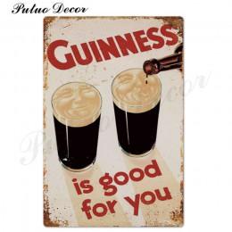 Guinness Vintage metalowe tabliczki plakietka z napisem Metal Vintage Pub metalowa płytka dekoracje ścienne dla Bar Pub Club Man