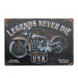 Tablica rejestracyjna Vintage motocykle metalowe tabliczki Home Decor Vintage znaki blaszane Pub dekoracja w stylu Vintage tabli