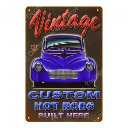 Vintage Hot Rods Bus Car metalowe tabliczki amerykański autobus kampery plakat Pub Bar garaż strona główna dekoracyjna ściana ar