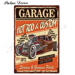 Garaż metalowy znak plakietka metalowa Vintage znak puszka Retro garaż znaki człowiek jaskinia dekoracje ścienne metalowy obraze