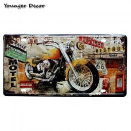 Retro oleju silnikowego motocykl prawo jazdy płyta istnieje wiele przejazdów US 66 Motel w stylu Vintage plakietki emaliowane be