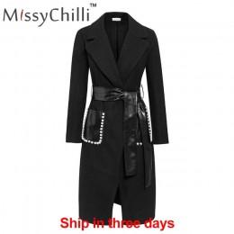 MissyChilli czarny Pu skórzany pas długi płaszcz z rękawami kobiety elegancka perła streetwear znosić jesienno-zimowy seksowny p