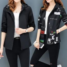 Streetwear nadrukowane z kapturem kurtka kobiet i przyczynowy wiatrówka kurtki typu basic 2019 nowy Reversible baseball zamki ku