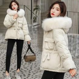 Vielleicht 2019 nowe koreańskie futro z kapturem kurtki parki kurtka zimowa kobiety krótki styl związywane ciepły gruby szczupły