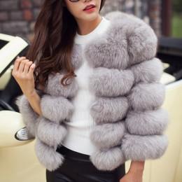 Damskie sztuczne futro jesienno-zimowa 2019 moda ciepły płaszcz w stylu Casual Plus rozmiar sztuczne futro z lisa płaszcz kurtka