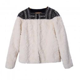 TWOTWINSTYLE polar nit płaszcz dla kobiet Faux Patchwork z długim rękawem gruby kardigan kobiet 2019 zima nowy harajuku odzież