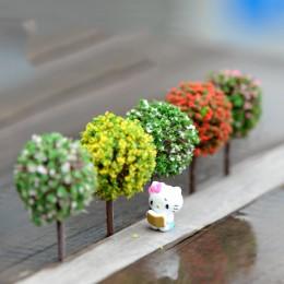 5 sztuk Mini dekoracje ogrodowe żywica drzewo bajki ogród figurki do terrarium miniaturowe bajki figurki miniaturowe drzewa wyst