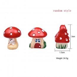 3 sztuk/zestaw Cute Cartoon czerwony domek grzybowy 3 rodzaje DIY żywica bajkowa ozdoba ogrodowa rękodzieło miniaturowe mikro Gn