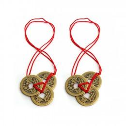 2 sztuk chiński feng shui monety znaczące Fortune monety z czerwony struny do bogactwo i szczęście kolorowe