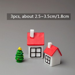 BAIUFOR miniaturowa choinka święty mikołaj bałwany pudełko akcesoria do Terrarium wróżka figurki ogrodowe domek dla lalek