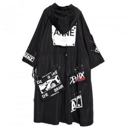 XITAO łączone Plus rozmiar czarny wykop dla kobiet fala długi odzież uliczna z nadrukiem bluza z kapturem dorywczo kobiet szerok