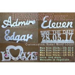 Dostosuj dowolne drewno połączone słowa drewniane białe napisy nazwa alfabetu urodziny prezent ślubny wesele dekoracje domu prez