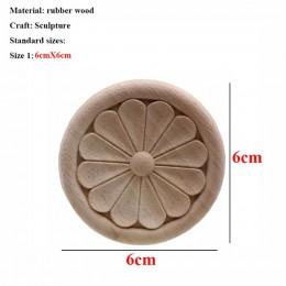 VZLX kwiat rzeźbione w drewnie naturalne drewniane aplikacje do szafka niepomalowane drewniane listwy naklejka dekoracyjne figur