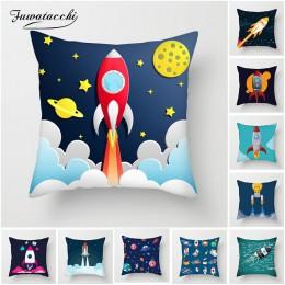 Fuwatacchi Cartoon statek kosmiczny poszewka astronauta Rocket dekoracyjna poszewka na poduszkę na krzesło domowe przestrzeń pod