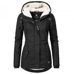 Damski płaszcz zimowy ciepła wiatroodporna wąska kurtka moda w pasie kieszeń na suwak z kapturem sznurkiem płaszcze jesienne ubr