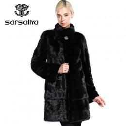 Płaszcz z prawdziwego futra norek kobiet zima futro naturalne płaszcze z norek i kurtki kobiet długa, ciepła Vintage kobiety ubr