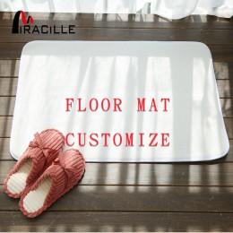 Miracille Customized Coral Fleece mata podłogowa wystrój łazienki Anti drzwi przesuwne mata z obrazem wykładziny i dywany dla do