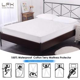 160X200 bawełna, frotte materac pokrywa 100% materac wodoodporny Protector łóżko Bug dowód kurz roztocza podkład na materac pokr