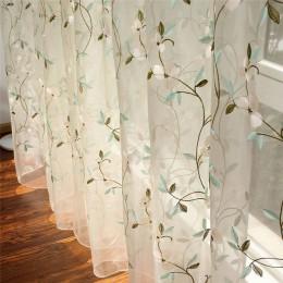 Haftowane kwiatowe wzory zasłony tiulowe do salonu dziewczyny żakardowe duszpasterskie zasłona dla zasłony do sypialni Cortinas