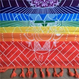 Lepsza jakość wykonana z bawełny Bohemia India koc z mandalą 7 czakry tęczowe paski Tapestry Beach Throw Towel Yoga Mat