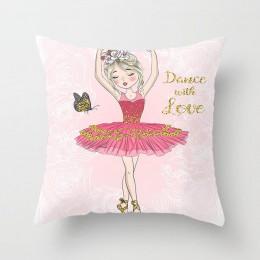 Lychee life baletnica drukuj poszewka na poduszkę poliester dekoracyjna poszewka na poduszkę kwadratowy 45x45cm Home poduszka bi
