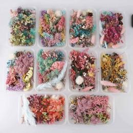 1 Box prawdziwy suszony kwiat suche rośliny na świeca aromaterapeutyczna epoksydowa wisiorek z żywicy naszyjnik tworzenia biżute