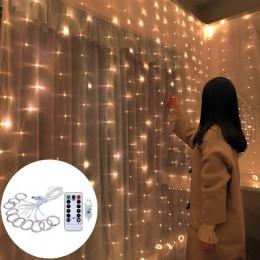 Ozdoby choinkowe dla domu 3x0.5 M/3x2 M/3x3 M kurtyna led drut miedziany String lampki walentynkowe Garland nowy rok 2020